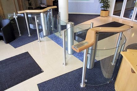 Metal Fabrication using Pipe Bending for Glass Stile in Lobby